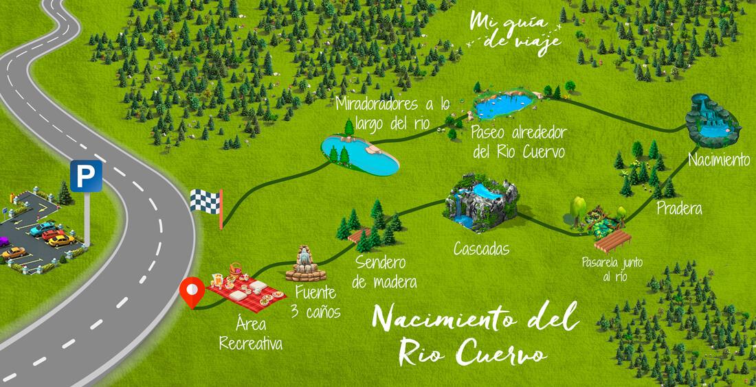 Mapa de la Ruta del Nacimiento del río Cuervo en Cuenca
